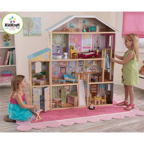 walmart barbie house kidkraft majestic mansion dollhouse with furniture walmart com