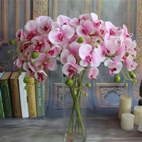 artificial flower decoration for home 1pc fake phalaenopsis artificial orchid flower 6 colors