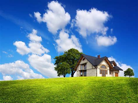 wallpaper green house the field green grass house tree clouds sky blue hd wallpaper