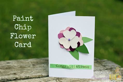 paint chip crafts flower card
