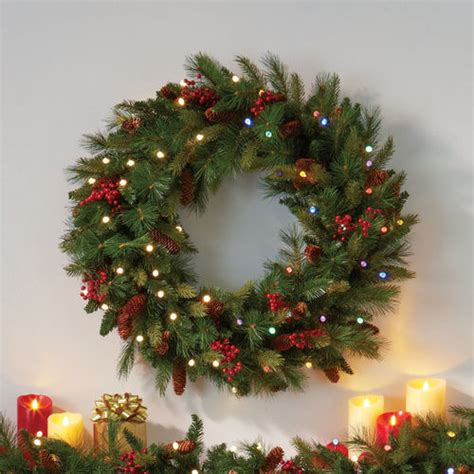 cordless led pre lit christmas wreath at brookstone buy now