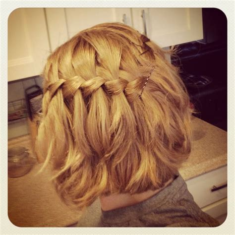 hot to do an upsweep on shoulder length hair waterfall braid medium length short hair honey blonde