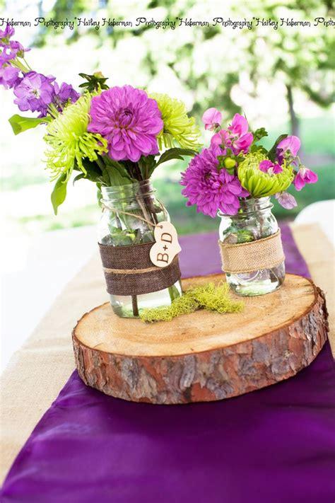 purple wedding centerpieces on pinterest inexpensive rustic purple wedding centerpiece idea monogram mason