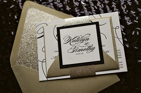 black and gold glitter wedding invitations real wedding katelyn and timothy black and gold glitter