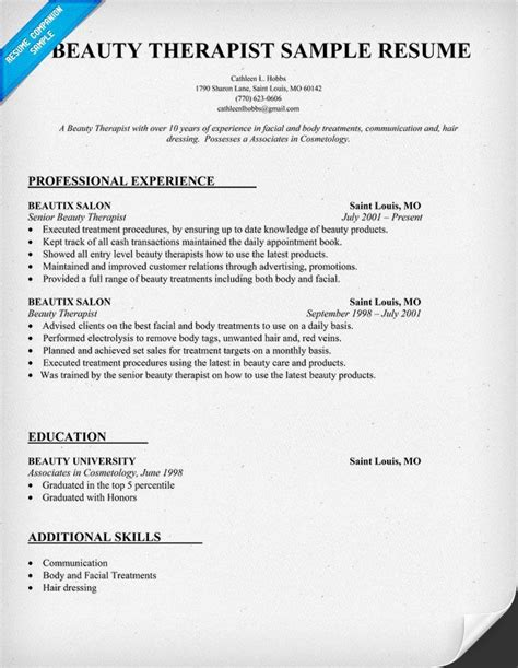 Beautician Cv Resume Sle Resume Sle We Also 1500 Free Resume Templates In Our Resume Template