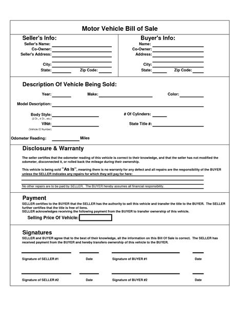 blank bill of sale form free printable white gold