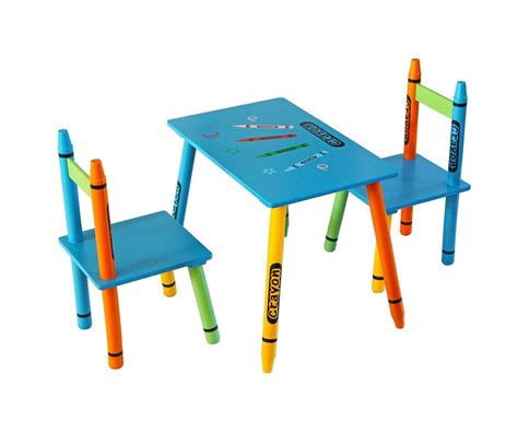 Childrens Wood Table And Chairs - bebe style childrens wooden crayon themed table and chair