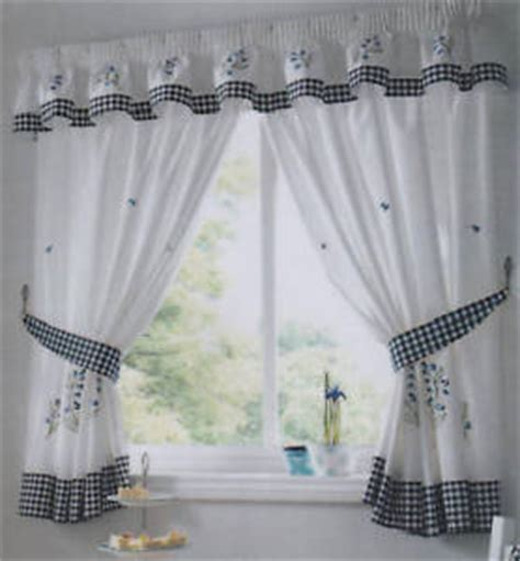 Tie Back Kitchen Curtains Kitchen Curtains Bluebell Includes Tie Backs Ebay