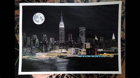 Painting In Nyc by How To Paint A New York Acrylic Painting Tutorial