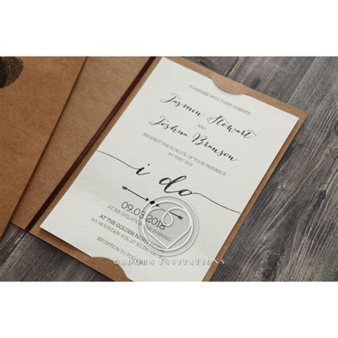 fingerprint wedding invitation rustic craft card stock - Rustic Wedding Invitation Companies