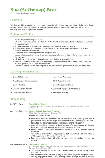 Resume Sample Computer Science by Relief Teacher Resume Samples Visualcv Resume Samples