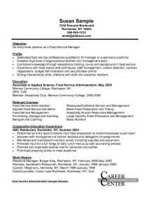 Food Manager Sle Resume by Food Service Manager Resume Resume Format Pdf