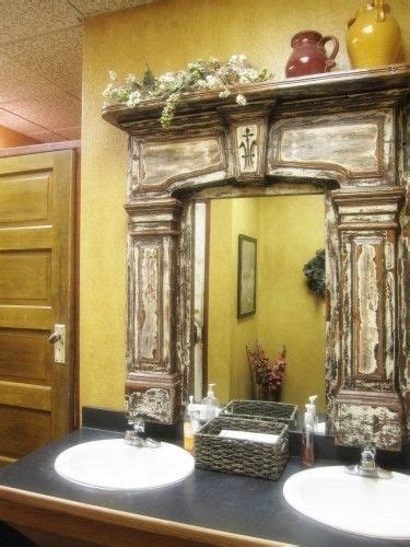 bathroom mirror surrounds i love this idea vintage fireplace mantel used as