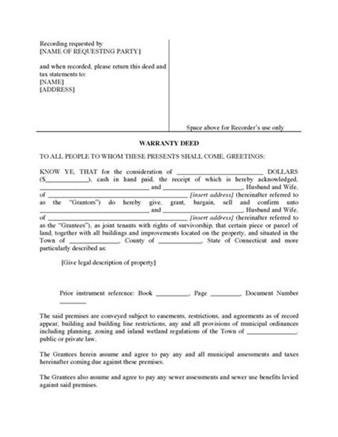 deed of ownership template connecticut warranty deed for joint ownership