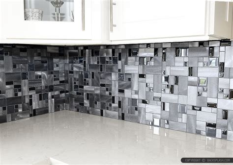 Tin Backsplashes For Kitchens modern black glass metal backsplash tile backsplash com