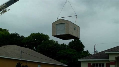 crane house crane lifts shed over house youtube