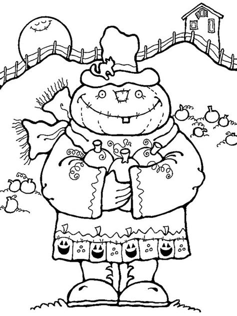 halloween fall scarecrow coloring pages