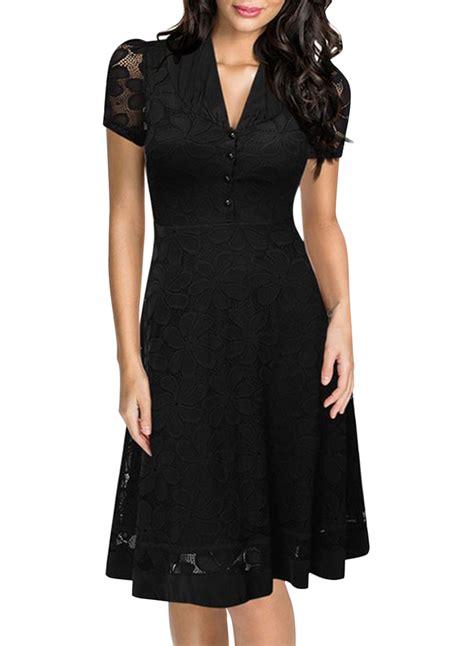 Black Lace Dress 17779 black lace v neck sleeve swing dress oasap