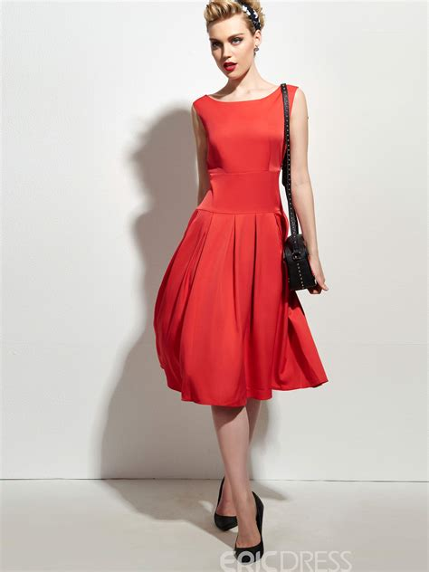 Sleeveless Pleated A Line Dress ericdress sleeveless pleated plain a line dress 11386908
