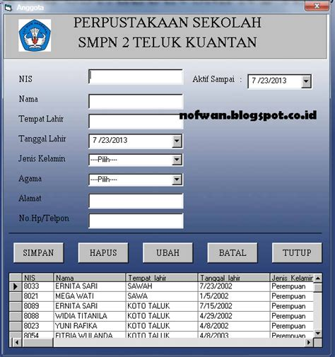 tutorial visual basic 6 0 membuat program tutorial membuat program perpustakaan form anggota