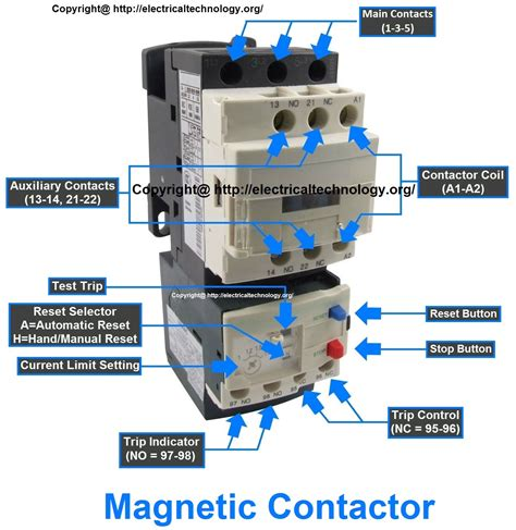 contactor relay wiring diagram components