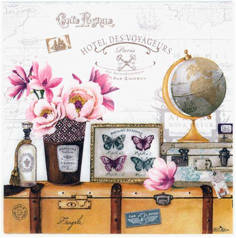Decoupage World - decoupage napkins of world travelers hotel steamer trunk globe