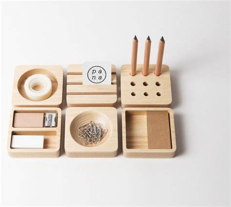 designer desk accessories and organizers ilaria innocenti s modern desk set in turned timber