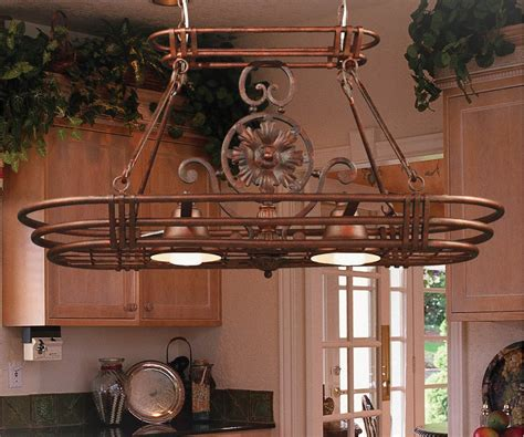 Kitchen Pot Hanging Rack With Lights Kenroy Home 90304gc Dorada 2 Light Pot Rack Gilded Copper Finish Home Improvement