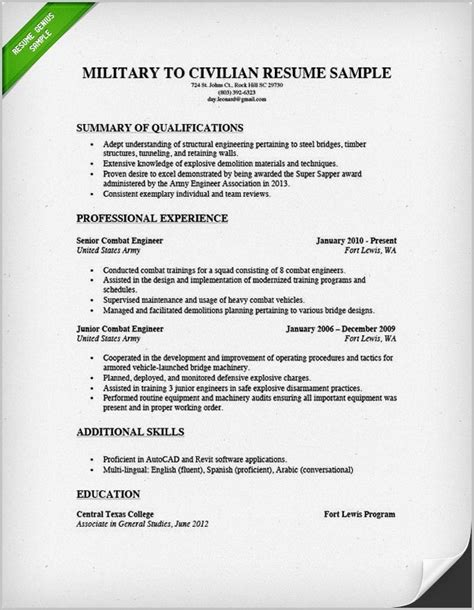 To Civilian Resume Builder by Resume Builder For To Civilian Resume Resume