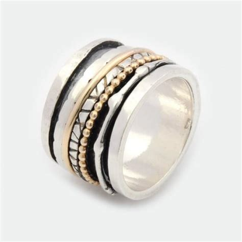 Handcrafted Wedding Rings - gold filled handcrafted spinning ring sterling silver