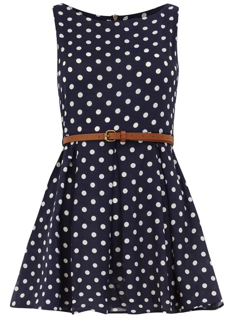 Dress Navy Polkadot navy polka dot belted tunic dresses clothing dorothy