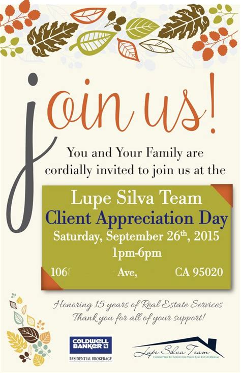 Lupe Silva Team Client Appreciation Party Front Invite Client Appreciation Party Pinterest Customer Appreciation Event Invitation Template