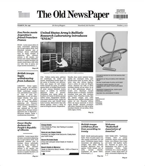 sle old newspaper template 11 documents in pdf psd