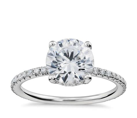 blue nile studio petite french pav 233 crown diamond engagement ring in platinum 1 3 ct tw