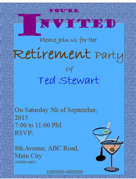 retirement party invitation flyer template publisher