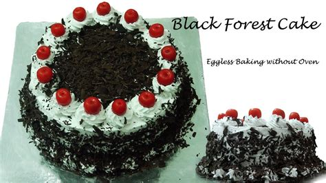 black forest cake recipe without oven cooker cake eggless baking without oven youtube
