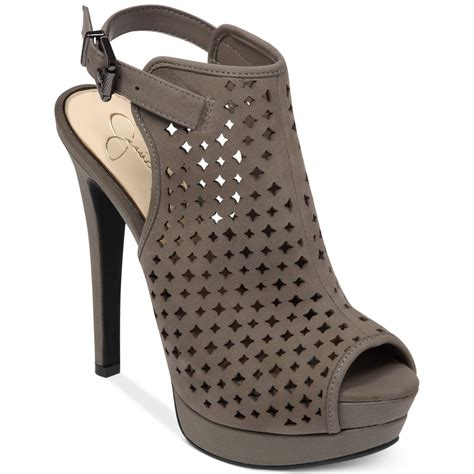 lyst jessica simpson seigfriede perforated platform shooties  gray