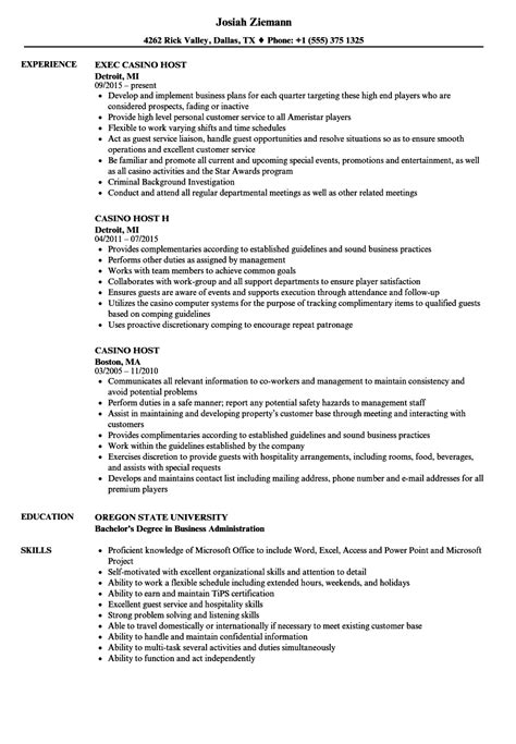 Casino Host Resume Sles Velvet Jobs Casino Resume Template