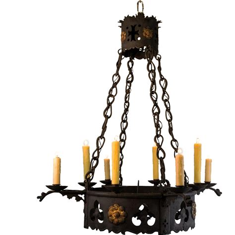 Table L Chandelier 1920 S 8 Light Wrought Iron Tudor Chandelier From Table M On Ruby