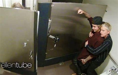 hidden public bathroom justin bieber ellen scare women in the bathroom video