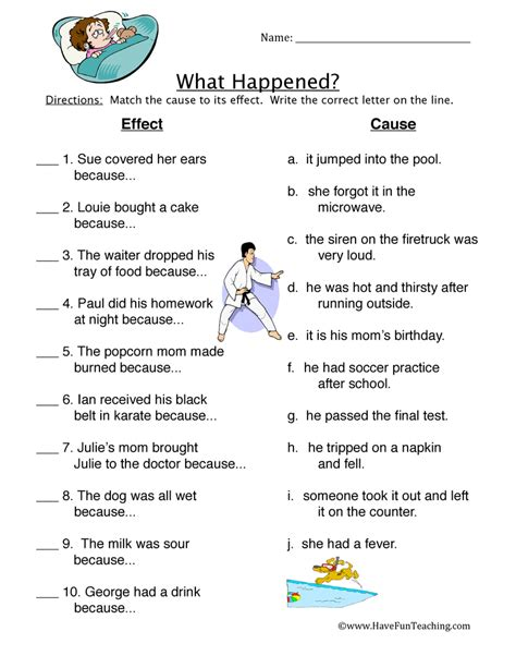 Cause And Effect Worksheets For Middle School by Cause And Effect Worksheets For Middle School Lesupercoin
