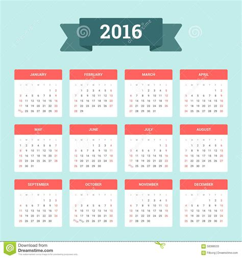 calendario de 2016 do iperj calendario 2016 ilustraci 243 n del vector imagen de enero