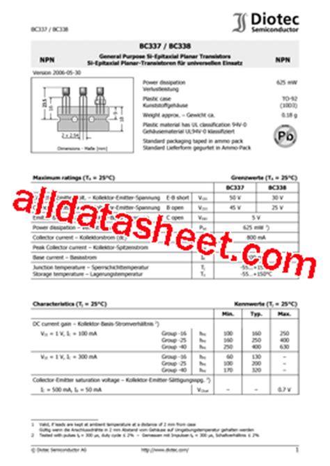 transistor bc337 datasheet pdf bc337 datasheet pdf diotec semiconductor