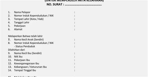 buat akta kelahiran online contoh form surat keterangan pelaporan kelahiran wisanggeni