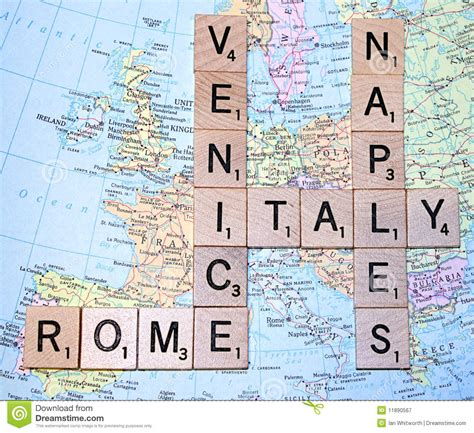 italian scrabble italy map with scrabble letters royalty free stock