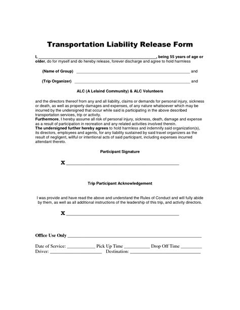 transportation release form template best photos of liability release form template general