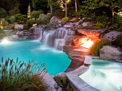 nice pool outdoor small inground swimming pools with nice flames
