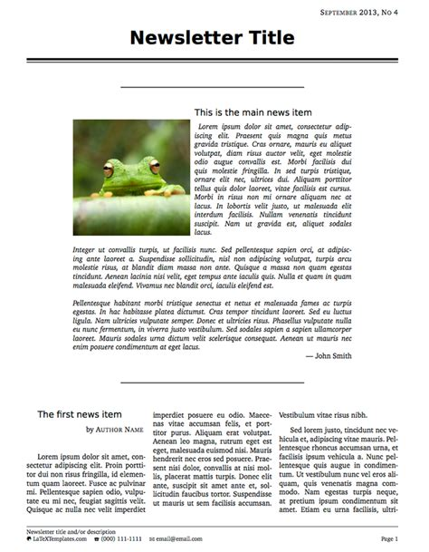 latex templates 187 newsletters