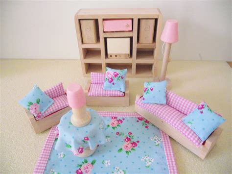 dolls house furniture for children miniature childrens luxury wooden doll house furniture sofa couch shabby chic ebay