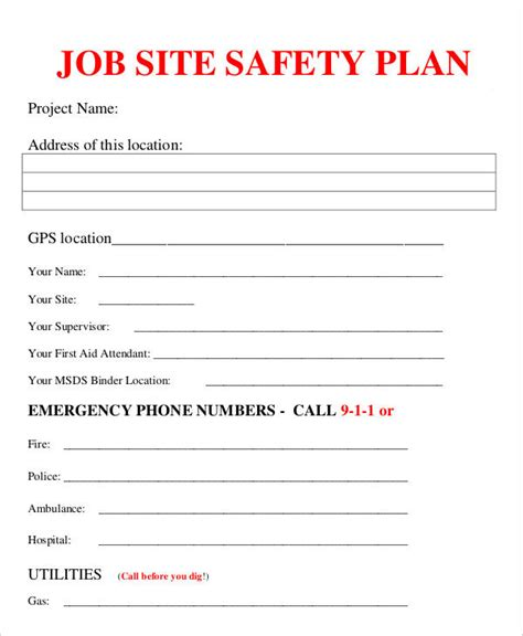 Job Plan Templates 10 Free Sles Exles Format Site Specific Safety Plan Template